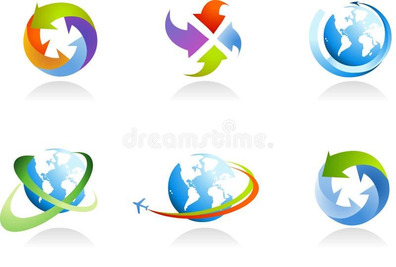 Samling av jordklotsymboler royaltyfri illustrationer