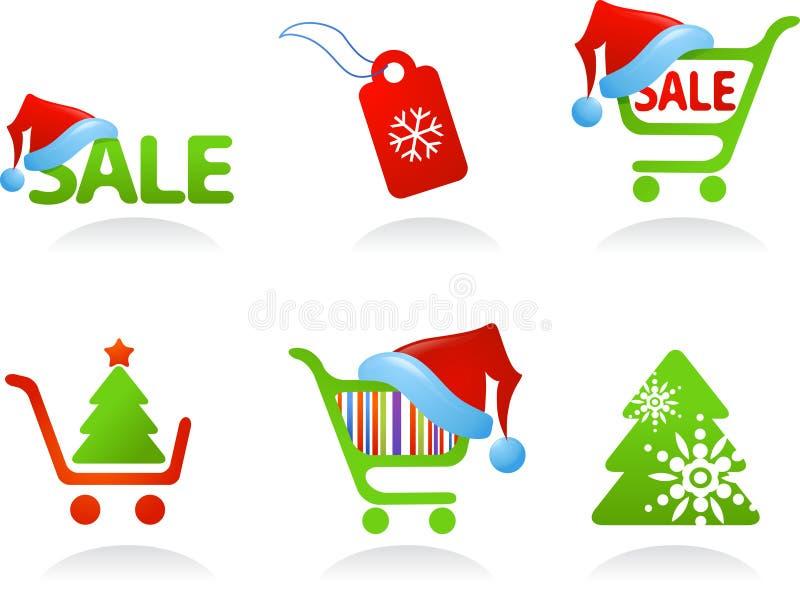 Samling av jul som shoppar symboler! stock illustrationer