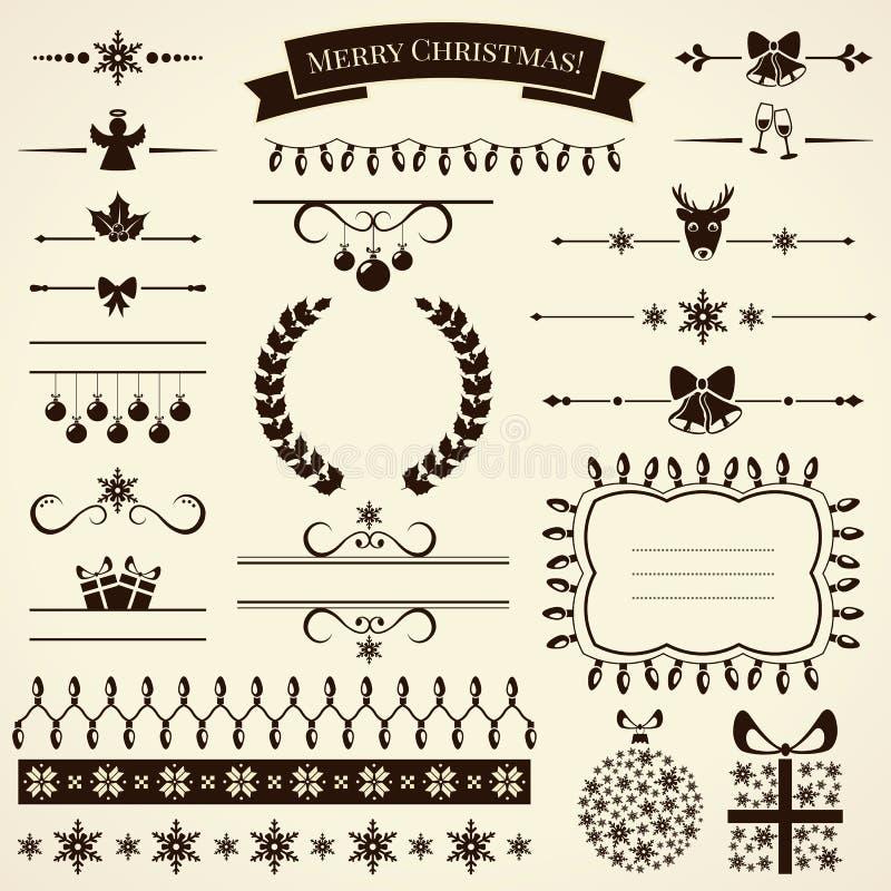Samling av juldesignbeståndsdelar. Vektorillustration. vektor illustrationer