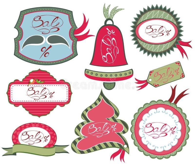 Samling av juletiketter royaltyfri illustrationer