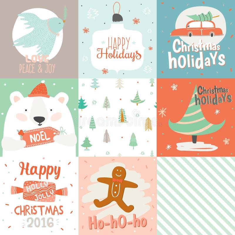 Samling av 9 julgåvaetiketter och kort royaltyfri illustrationer