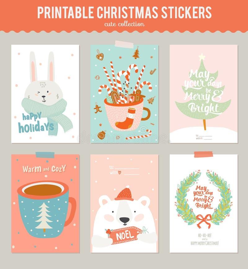 Samling av 9 julgåvaetiketter och kort stock illustrationer
