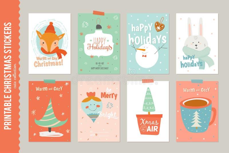 Samling av 8 julgåvaetiketter och kort royaltyfri illustrationer
