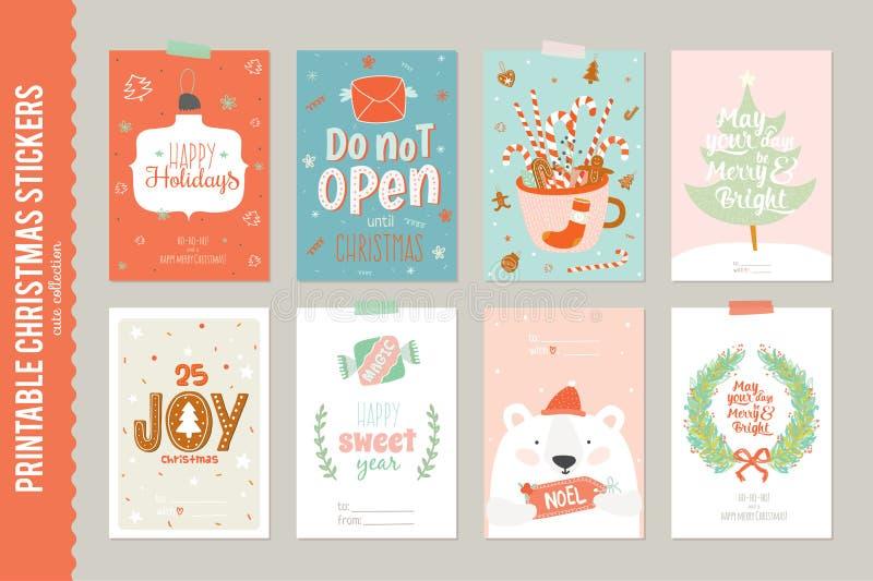 Samling av 8 julgåvaetiketter och kort vektor illustrationer