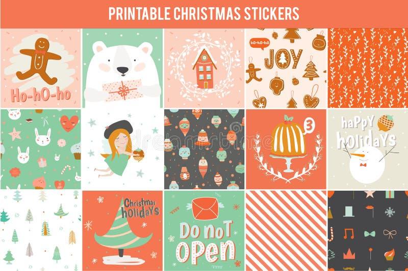 Samling av 15 julgåvaetiketter och kort royaltyfri illustrationer
