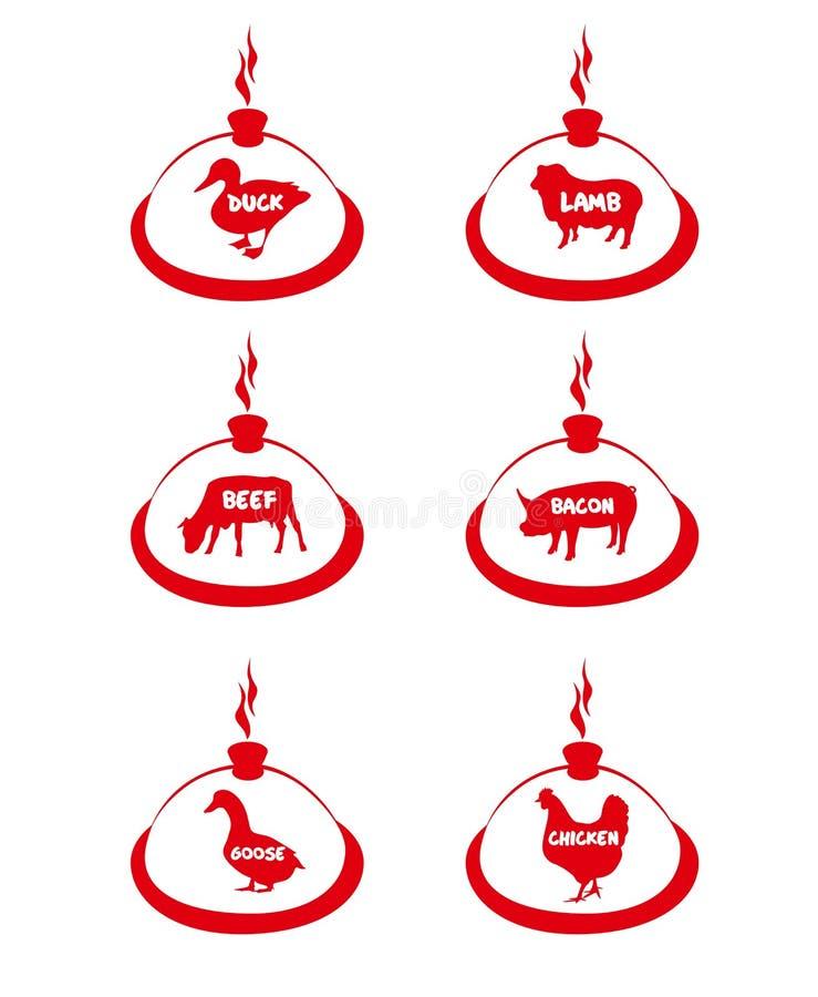 Samling av köttetiketter och emblem, stämpel stock illustrationer