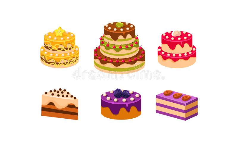 Samling av kakauppsättningen, olika läckra confectionefterrätter med frukter och bärvektorillustration stock illustrationer