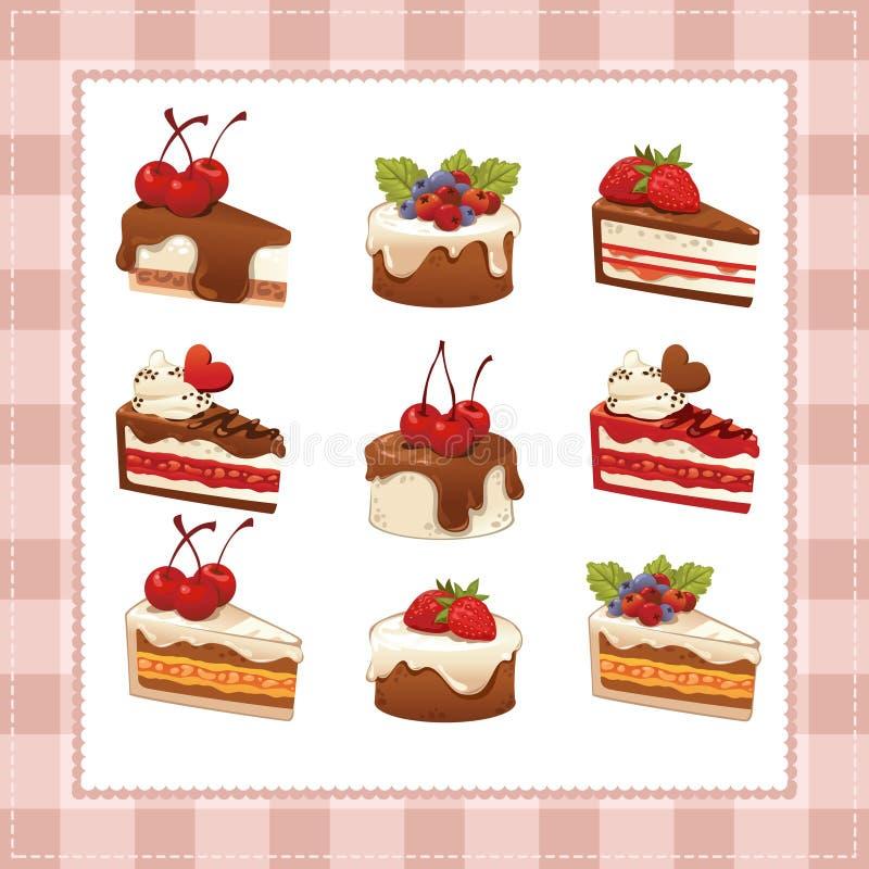 Samling av kakor på vit bakgrund royaltyfri illustrationer