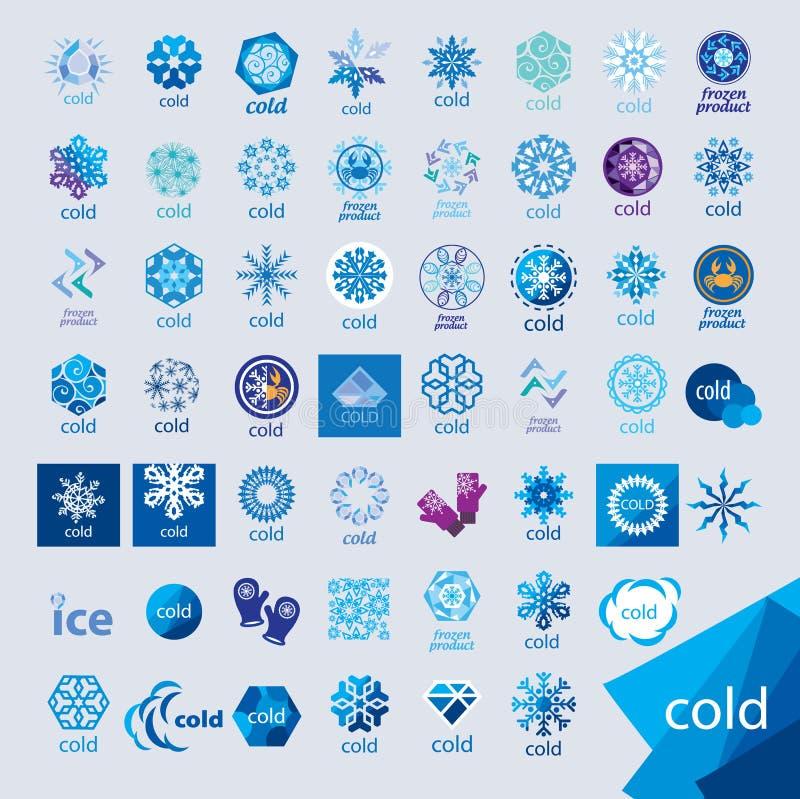 Samling av kalla vektorlogoer och frost stock illustrationer
