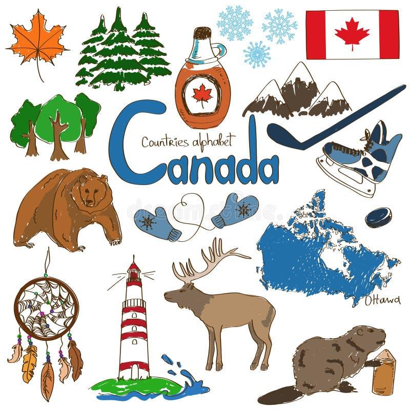 Samling av Kanada symboler royaltyfri illustrationer