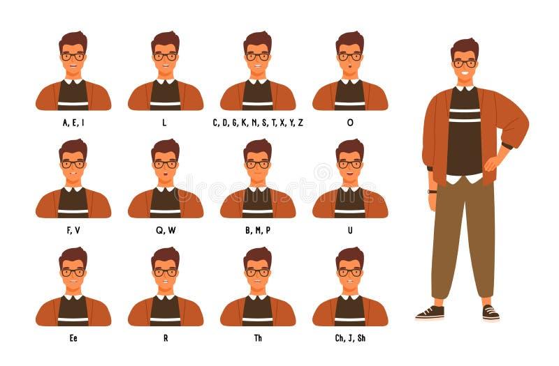 Samling av kant- eller munpositioner för manligt tecken s för olika ljud Animeringen ställde in av den unga mannen eller pojken s vektor illustrationer