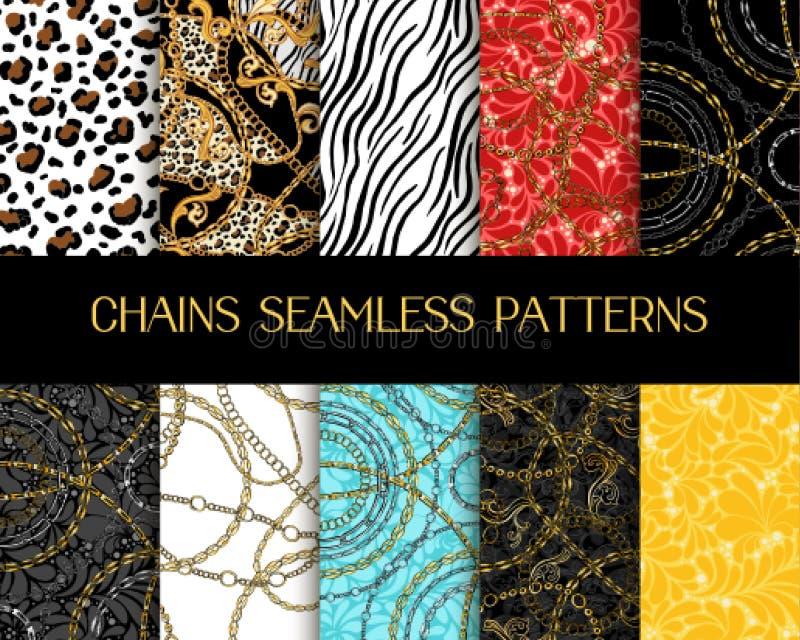 Samling av kedjemönster Seamlösa mönster i vektorkedjan med Zebra och Tiger Animal Print Blandade med Damaskornament stock illustrationer