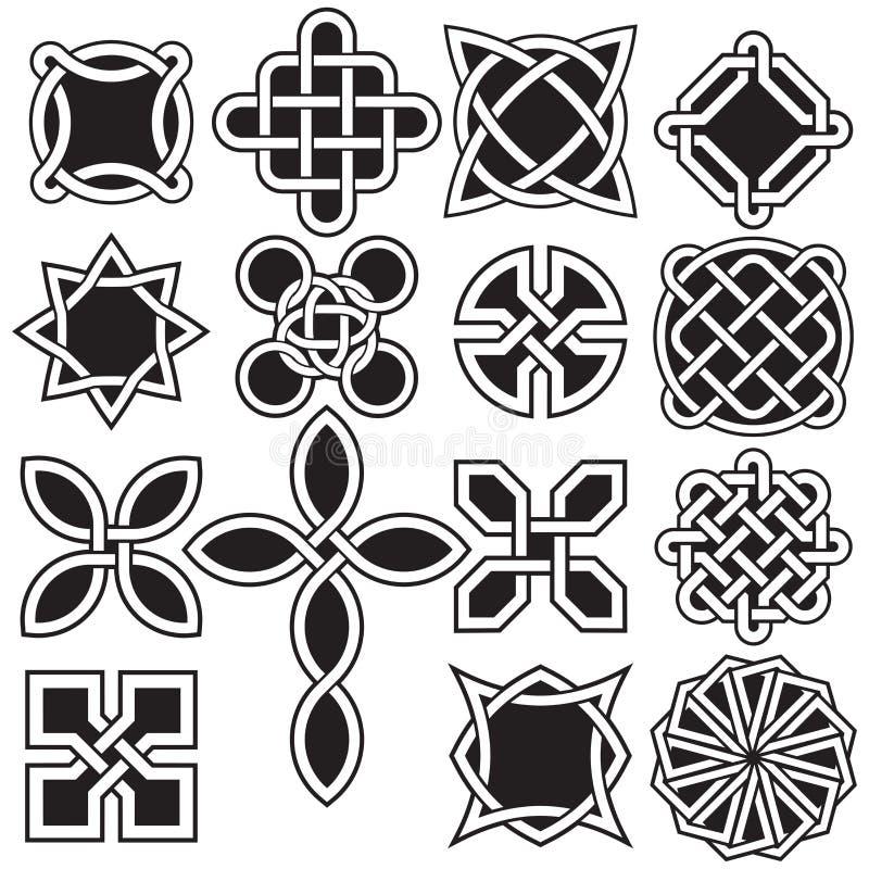 Samling av keltiska fnurendesigner i vektorformat royaltyfri illustrationer