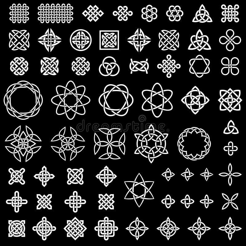 samling 50 av keltiskt, kines och annan knyter royaltyfri illustrationer