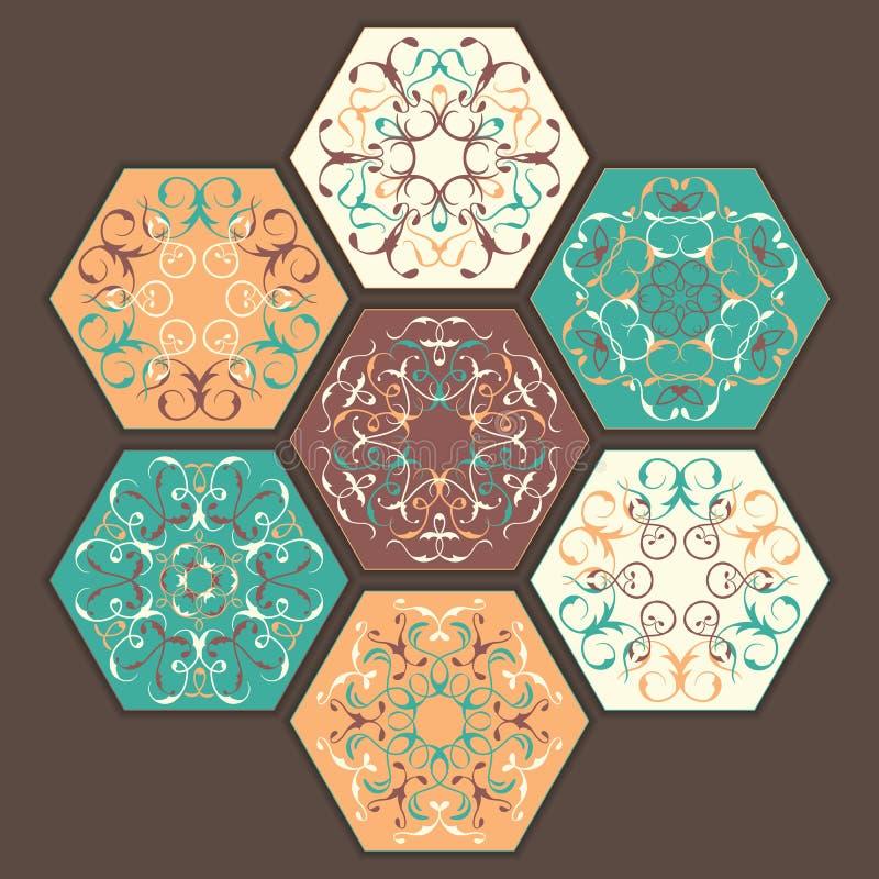 Samling av keramiska tegelplattor vektor illustrationer
