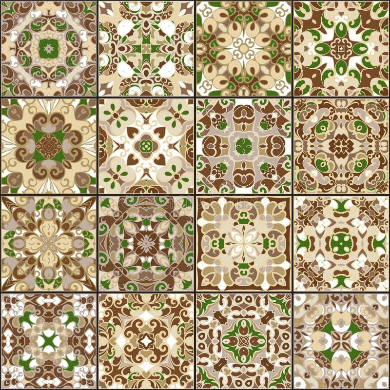 Samling av keramiska tegelplattor stock illustrationer