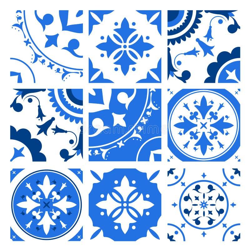 Samling av keramiska tegelplattor med olika traditionella orientaliska modeller och antika dekorativa prydnader i blått och royaltyfri illustrationer