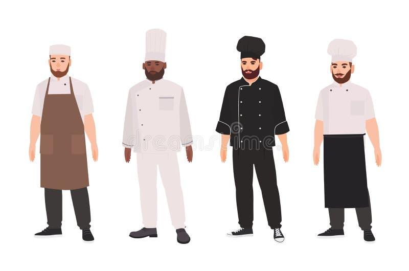 Samling av kockar, kvalificerade kockar, yrkesmässiga restaurangpersonal- eller kökarbetare som bär likformign och toquen Uppsätt vektor illustrationer