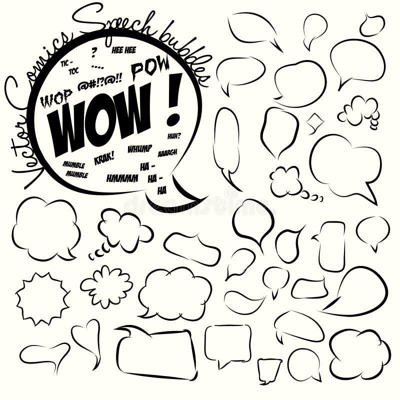 Samling av komiska stilanförandebubblor. Vektor. royaltyfri illustrationer