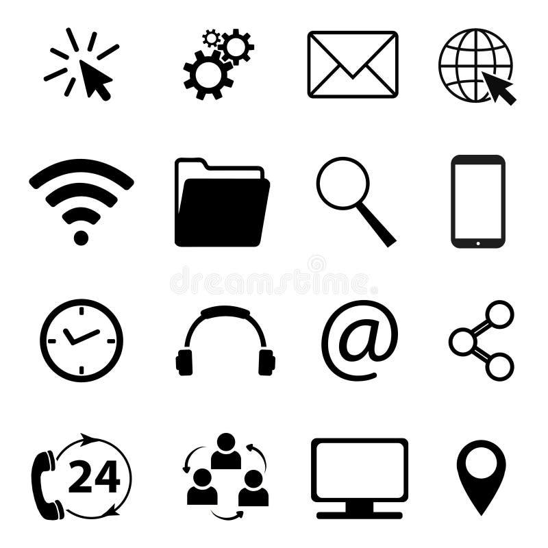 Samling av kommunikations- och affärssymboler Kontakt, mejl, mobiltelefon, meddelande, symboler etc. för trådlös teknologi vektor stock illustrationer