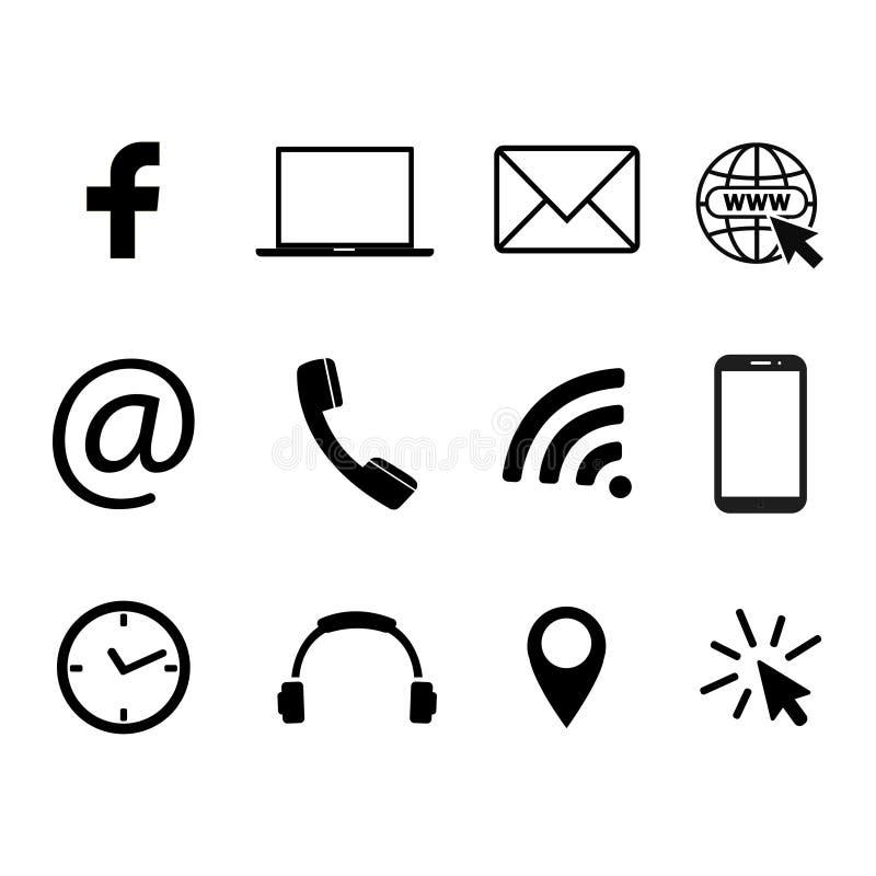 Samling av kommunikationssymboler Kontakt mejl, mobiltelefon, meddelande, socialt massmedia, symboler för trådlös teknologi Vekto vektor illustrationer