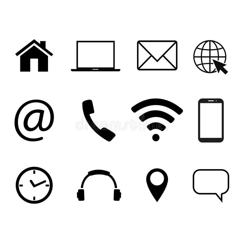 Samling av kommunikationssymboler Kontakt mejl, mobiltelefon, meddelande, symboler för trådlös teknologi också vektor för coreldr royaltyfri illustrationer