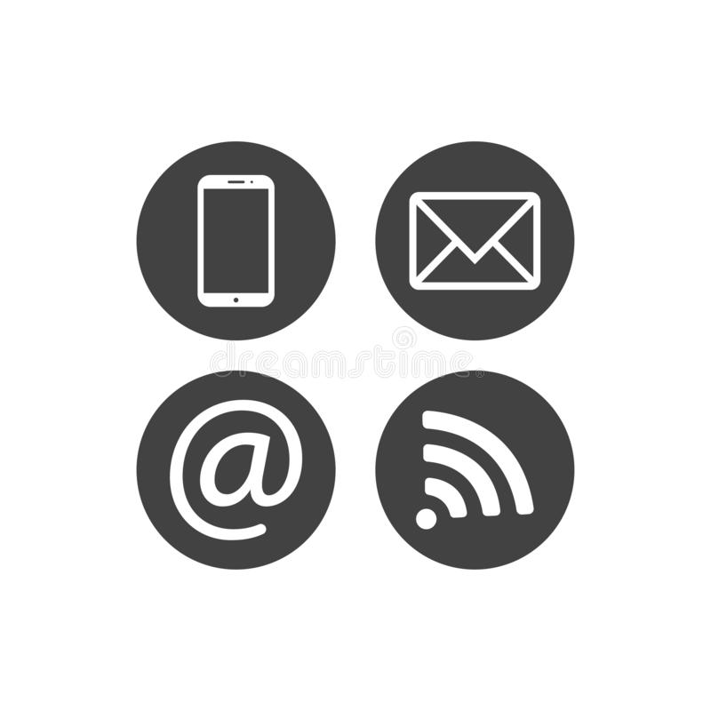 Samling av kommunikationssymboler Kontakt mejl, mobiltelefon, meddelande, symboler för trådlös teknologi Plana cirkelknappar Vect royaltyfri illustrationer