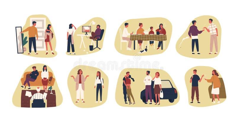 Samling av konfliktlägen eller platser mellan föräldrar och deras tonårs- ungar Packe av vuxet folk och tonåringar stock illustrationer