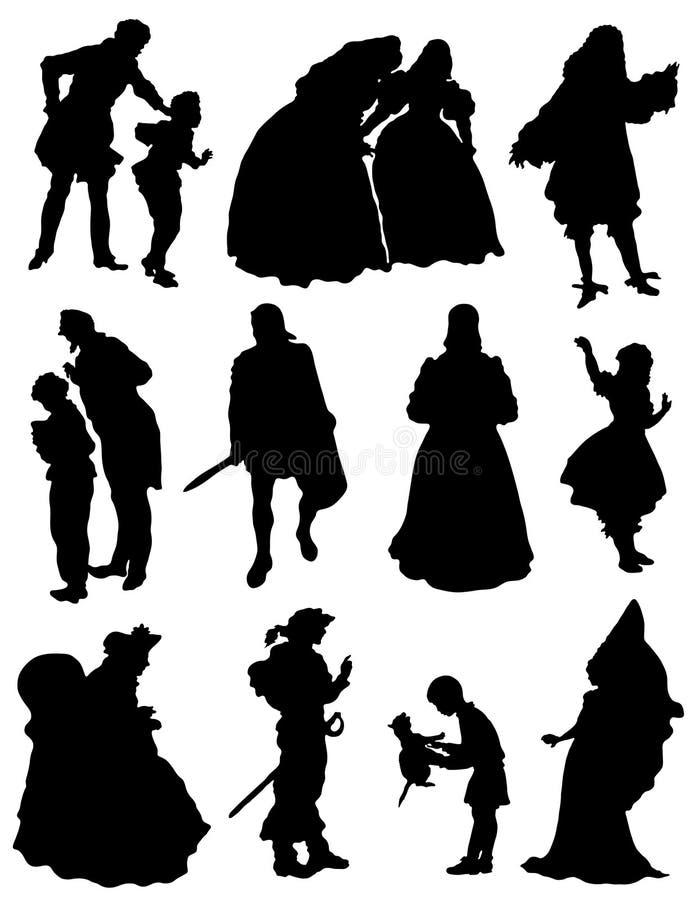 Samling av konturer av folk av en medeltida era vektor illustrationer