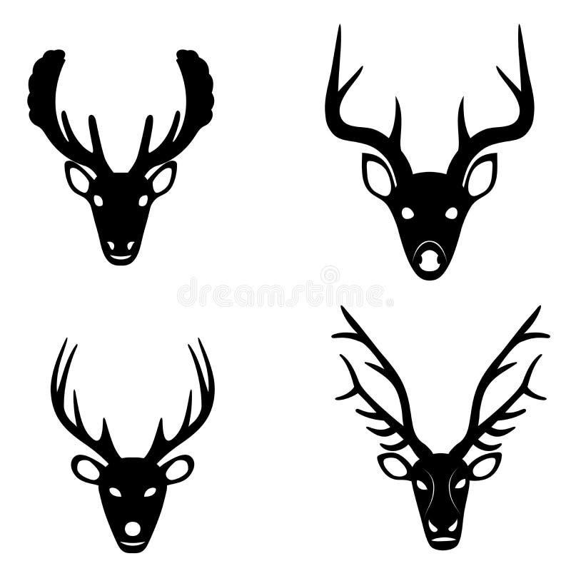 Samling av konturer av hjorthuvud vektor illustrationer