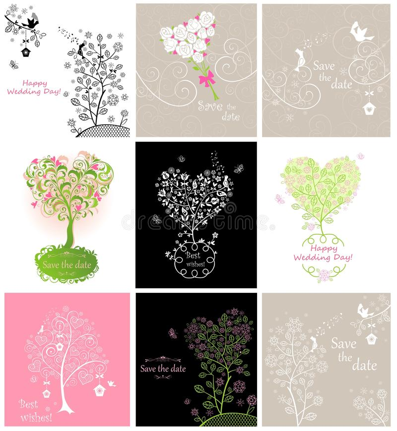 Samling av kort för brölloptappninghälsning med par av älskvärda fåglar royaltyfri illustrationer