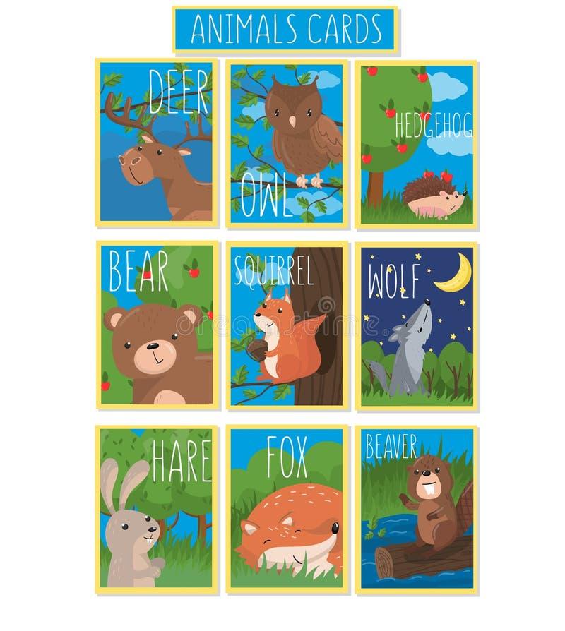 Samling av kort med gulliga skogdjur, vektorillustrationer med ugglan, björn, igelkott, hjort, ekorre, varg, hare royaltyfri illustrationer