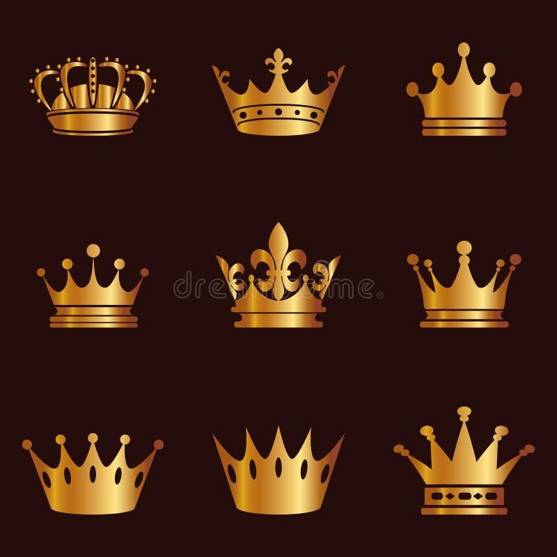 Samling av kronakonturn Monarkimyndighets- och kunglig personsymboler Guld- tappningantikvitetsymboler Kronasymbol för din webbpl