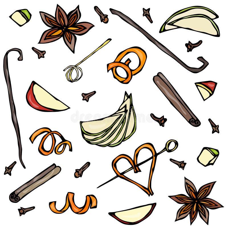 Samling av kryddor och fruktskivor Anis kanel, kryddnejlika, vanilj, Apple, apelsinskal Den drog handen skissar vektorillustratio vektor illustrationer