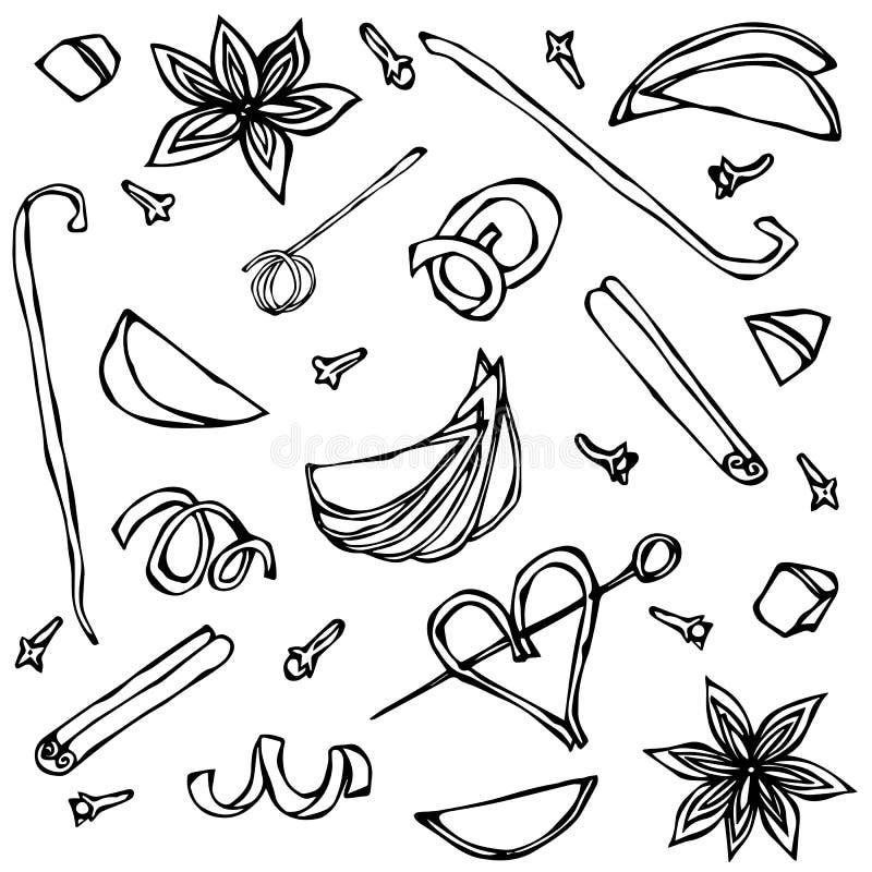 Samling av kryddor och fruktskivor Anis kanel, kryddnejlika, vanilj, Apple, apelsinskal Den drog handen skissar vektorillustratio stock illustrationer