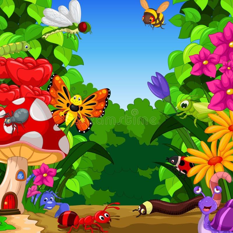 Samling av kryp i blommaträdgården royaltyfri illustrationer