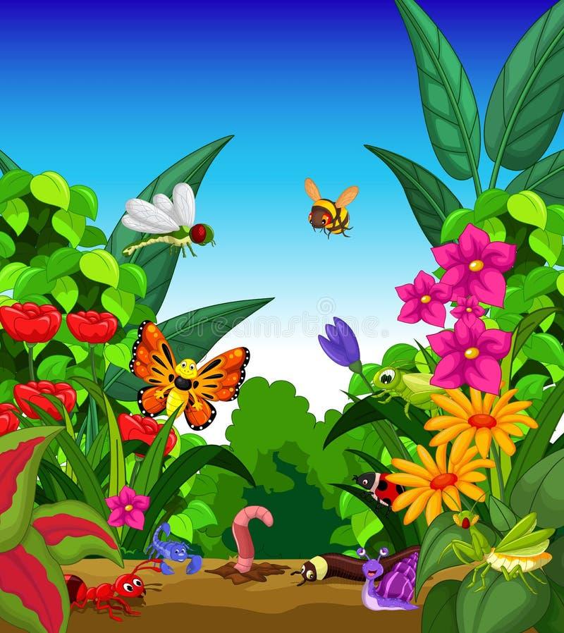Samling av kryp i blommaträdgården vektor illustrationer