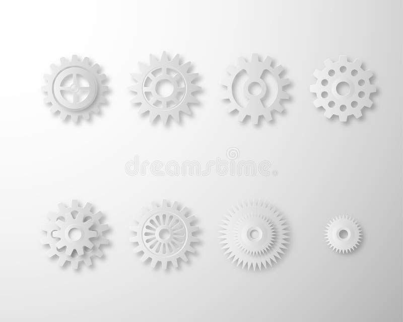 Samling av kugghjul och kuggehjulet som isoleras på vit bakgrund Ställ in av vit stil för kugghjulpapperskonst royaltyfri illustrationer
