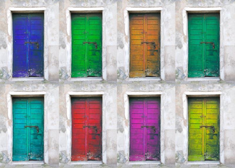 Samling av kulöra dörrar royaltyfri fotografi