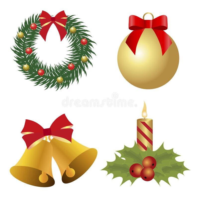 Samling av kulöra symboler för jul Uppsättning av härliga objekt stock illustrationer