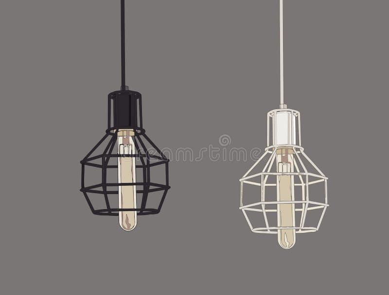 Samling av kulor och lampor för tappningsymboler ljusa Edison Light royaltyfri illustrationer