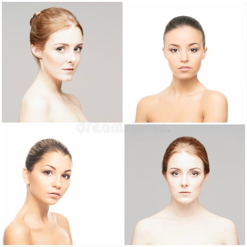 Samling av kvinnliga brunnsortst?ende Framsidor av olika kvinnor Lyfta f?r framsida, skincare, sminkbegrepp fotografering för bildbyråer