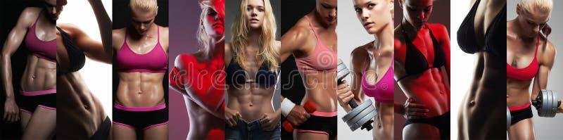 Samling av kvinnliga sportkroppar Muskulösa flickor för collage arkivfoto