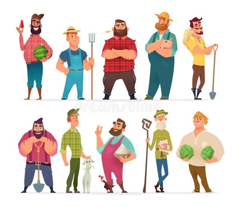 Samling av lantgårdteckendesignen Lycklig och sund bondeuppsättning stock illustrationer