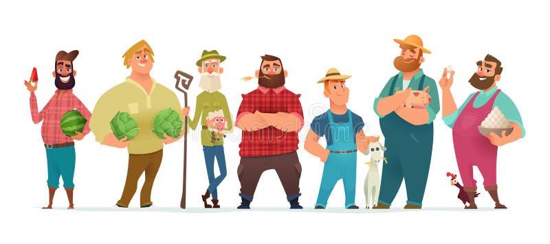 Samling av lantgårdteckendesignen Lycklig och sund bondeuppsättning royaltyfri illustrationer