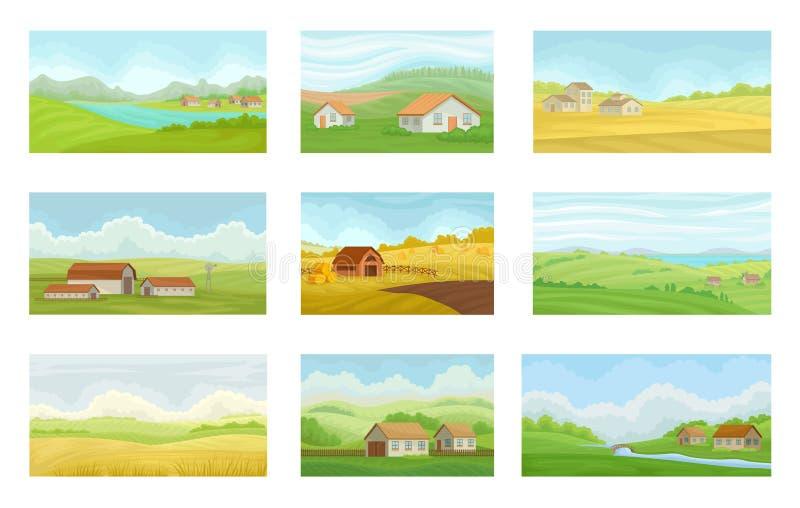 Samling av lantliga landskap för sommar med byhus, äng med grönt och gult gräs, åkerbrukt och att bruka royaltyfri illustrationer