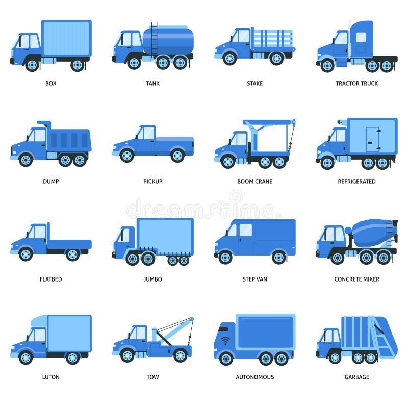 Samling av lastbilsymboler i plan stil royaltyfri illustrationer