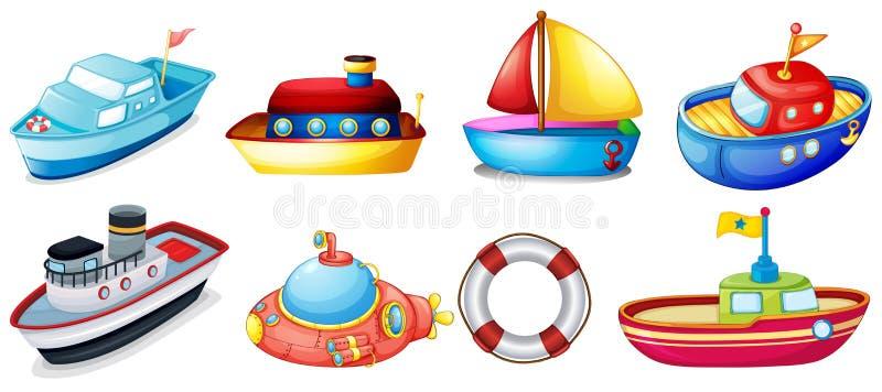 Samling av leksakfartyg royaltyfri illustrationer