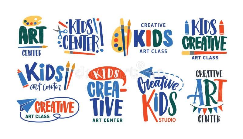 Samling av letterings som är handskriven med calligraphic stilsorter för logo av konstgrupp eller den idérika studion för barn Up royaltyfri illustrationer