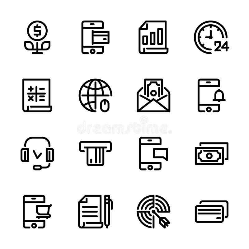 Samling 3 av linjära rengöringsduksymboler, pictograms, symboler på banker, pengar, finans svart f?rg stock illustrationer